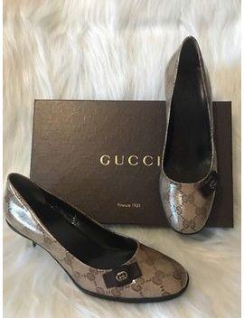Gucci Crystal Gg Monogram Metal Logo On Bow, Pump Women's Shoe Sz 37 ❤️❤️❤️ by Gucci