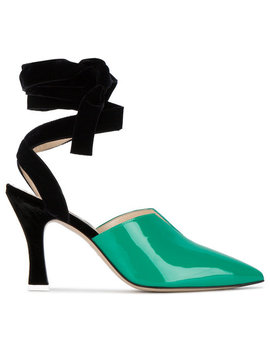 Green Patent Leather Olivia 95 Pumps by Attico