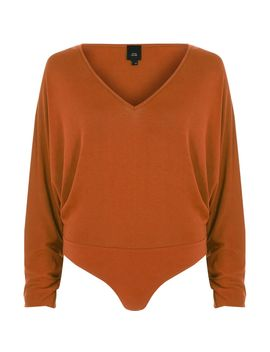 Dark Orange Batwing Bodysuit by River Island