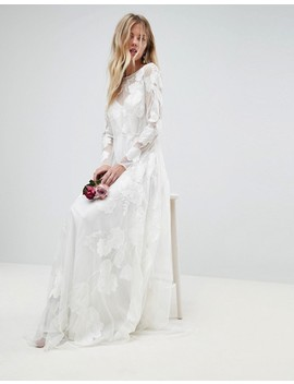 Asos Bridal Mesh Maxi Dress With Floral Embroidery by Asos Collection