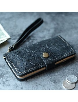 Leather I Phone 8 / 8 Plus Case I Phone 7 / 7 Plus Wallet Case I Phone 6 / 6s / 6 Plus / 6s Plus Wallet Case, I Phone Se / 5 / 5s Wallet Case   Italian Distressed Oiled Leather (Black Pattern) by Amazon