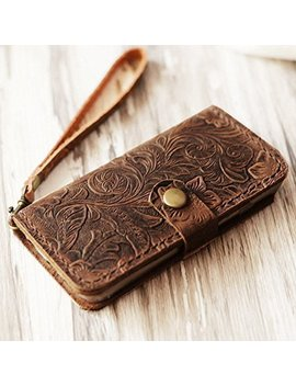 Genuine Leather I Phone X / 8 / 8 Plus / I Phone 7 / 7 Plus Wallet Case I Phone 6 / 6s / 6 Plus / 6s Plus Wallet Case / Se / 5 / 5s Case   Italian Distressed Oiled Leather (Brown Pattern) by Amazon