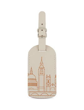 London Skyline Recycled Leather Luggage Tag by Under Cover