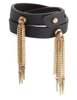 Luna Warrior Leather Wrap Bracelet by Jenny Bird