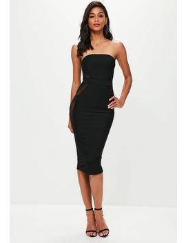 Black Mesh Insert Bandeau Bandage Midi Dress by Missguided