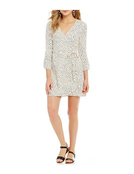 Wrap It Up Dotted 3/4 Tulip Sleeve Wrap Dress by Billabong