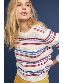 Fringed Stripe Pullover by Moth