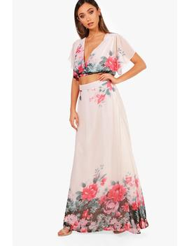 Jane Woven Floral Tie Crop & Maxi Skirt Co Ord by Boohoo