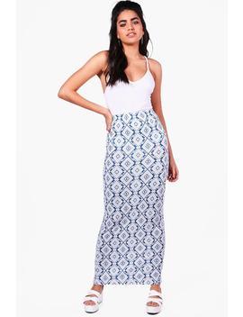 Zoe Aztec Print Maxi Skirt by Boohoo