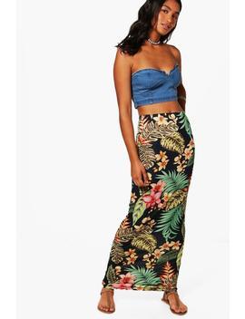 Aurora Tropical Print Maxi Skirt by Boohoo