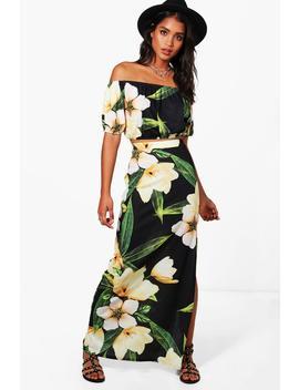 Ali Floral Off Shoulder Crop & Maxi Co Ord by Boohoo