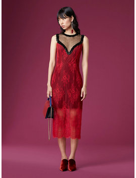 Beaded Overlay Lace Dress by Dvf