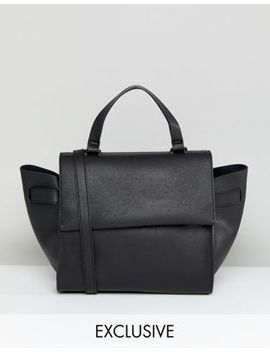 Glamorous Structured Tote Bag In Black With Cross Body Strap by Glamorous
