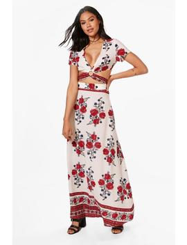 Nicole Floral Boarder Crop & Maxi Skirt Co Ord Set by Boohoo