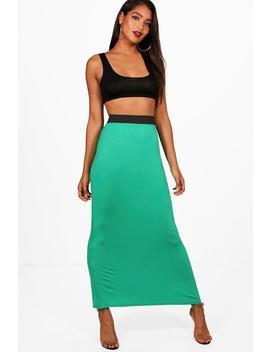 Helen Jersey Contrast Waistband Maxi Skirt by Boohoo
