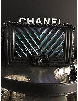 Nwt Chanel 2017 So Black Boy Bag Iridescent Chevron Purple Green Blue Small New by Chanel