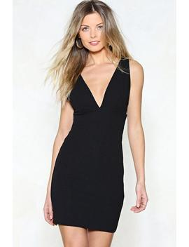 Deep Your Wits About You Plunging Dress by Nasty Gal