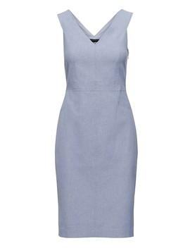 Twill Double V Sheath Dress by Banana Repbulic