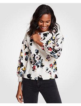 Petite Floral Lantern Sleeve Sweatshirt by Ann Taylor