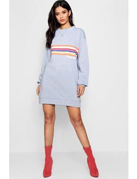 Millie California Rainbow Stripe Sweat Dress by Boohoo