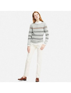 Women Idlf Linen Striped Sweater by Uniqlo