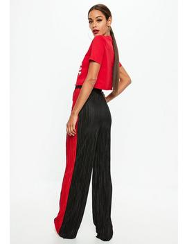 Black Pleated Wide Leg Pants by Missguided