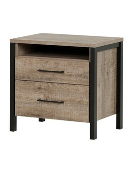 Munich 2   Drawer Nightstand   Weathered Oak And Matte Black   South Shore by South Shore