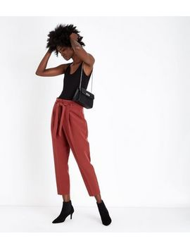 Rust Paperbag Waist Trousers by New Look