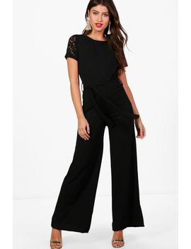 Lucy Lace Sleeve Belted Jumpsuit by Boohoo