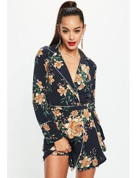 Navy Satin Floral Belted Wrap Shift Dress by Missguided
