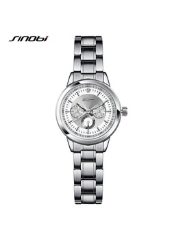 Sinobi Women Watch Elegant Brand Famous Luxury Silver Quartz Watches Ladies Steel Antique Geneva Wristwatches Relogio 2018 Gift by Sinobi Discount Quartz Watch Store