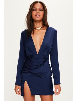 Navy Silky Long Sleeve Panelled Shift Dress by Missguided