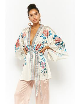 Satin Floral Self Tie Kimono by Forever 21