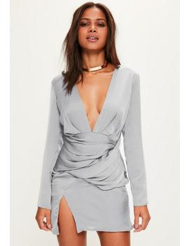 Grey Silky Long Sleeve Panelled Shift Dress by Missguided