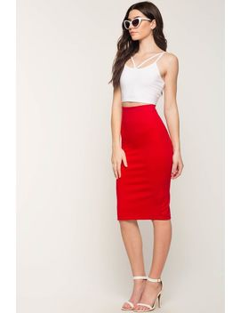 Forever Slim Midi Pencil Skirt by A'gaci