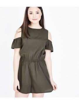 Teens Khaki Cold Shoulder Playsuit by New Look