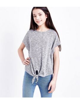 Teens Grey Tie Front T Shirt by New Look