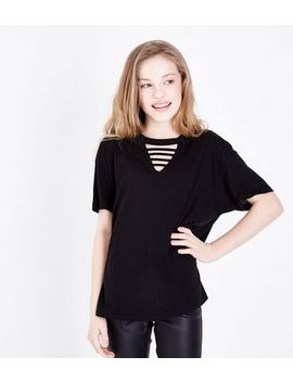 Teens Black Ladder Front V Neck T Shirt by New Look