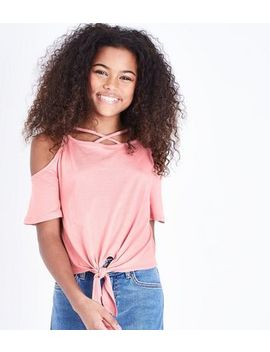 Teens Coral Lattice Tie Front Cold Shoulder Top by New Look
