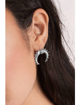 Crescent Moon Silver Stud Earrings by Tobi