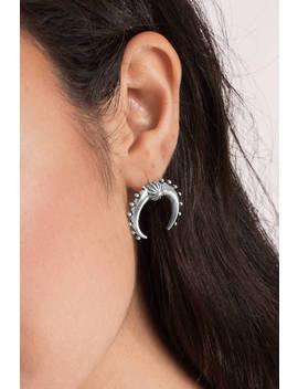 Crescent Moon Silver Stud Earrings by Tobi