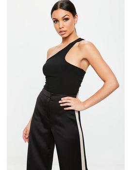 Black Asymmetric Sleeveless Bodysuit by Missguided