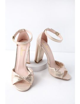 Carly Gold Ankle Strap Heels by Lulus