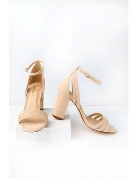 Shayla Nude Suede Ankle Strap Heels by Lulus