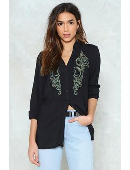 Wild Wild Thoughts Embroidered Shirt by Nasty Gal
