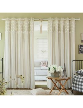 Aurora Home Floral Lace Overlay Thermal Insulated Room Darkening Grommet Top Curtain Panel Pair by Aurora Home