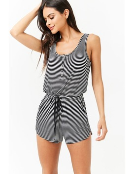 Striped Button Front Pajama Romper by Forever 21