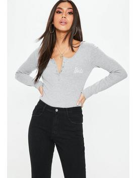 Barbie X Missguided Grey Long Sleeve Popper Front Bodysuit by Missguided
