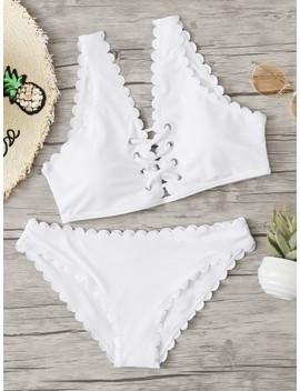 Scallop Trim Criss Cross Bikini Set by Sheinside