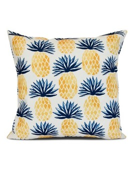 Pineapple Stripes Geometric Print Pillow by E By Design